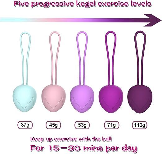 Kegel Balls-ajuste de los ejercicios de control de la vejiga femenina y del suelo pélvico: juego de 5 bolas de silicona premium Ben Wa Bolas de ...