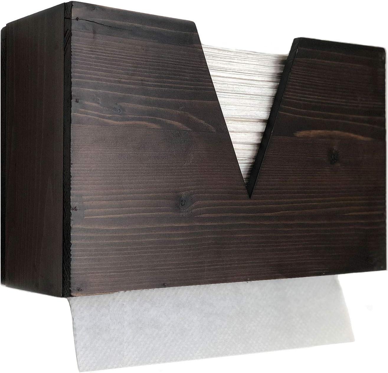 Paper Towel Dispenser Trifold, Countertop or Wall Mounted Paper Towel Dispenser, Hand Paper Towel Dispenser for Office, Bath, Kitchen, Tissue Dispenser Countertop or Wall Mount (Brown)