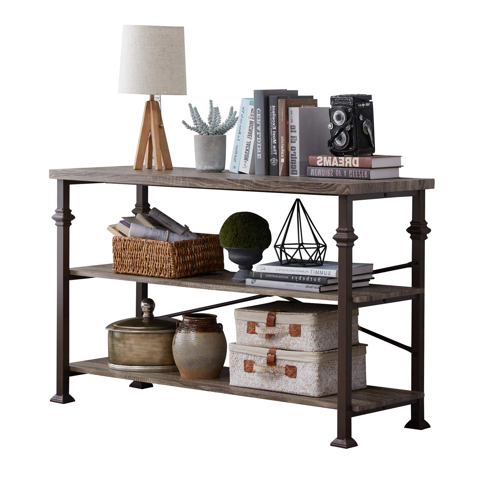 Hombazzar 3 Tier Industrial Rustic Sofa Table, Rectangular Console Hall Entry Table with Storage Shelf for Entryway, Living Room, Hallway, Grey Oak, 47-Inch Long by Hombazaar