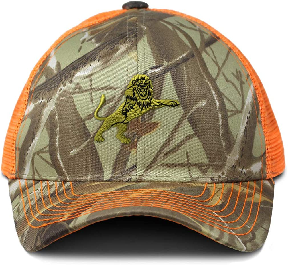 Custom Camo Mesh Trucker Hat Standing Lion A Embroidery Cotton One Size