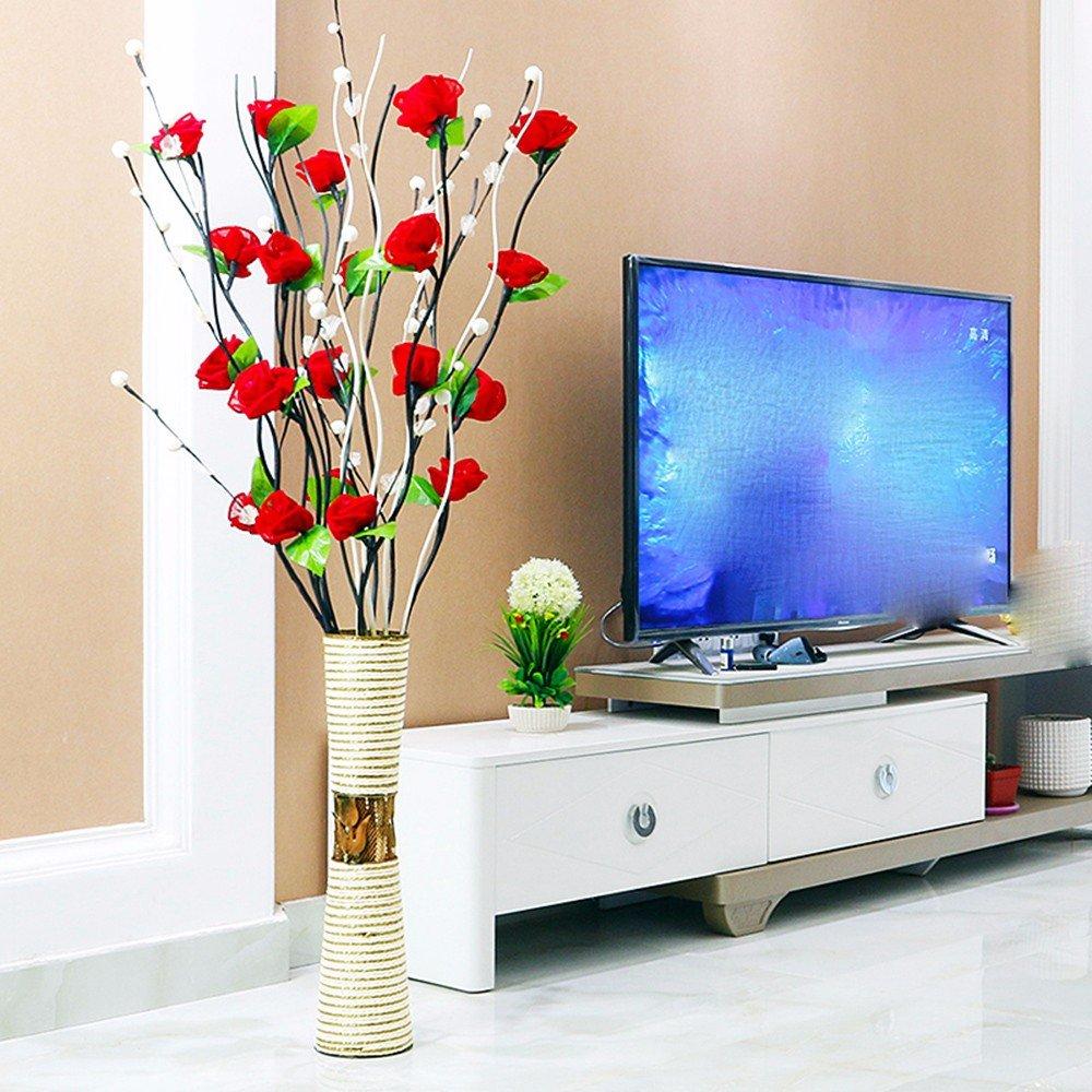 situmiエミュレーション人工花ローズfloor-to-ceiling花瓶ホームウェディング装飾花柄Arts レッド 9811585121506 B06XTP7CLW レッド