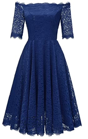 WLITTLE Womens Dresses Spring and Summer New Style Shoulder Vintage Lace Bridesmaid Dresses Sexy Big Pendulum