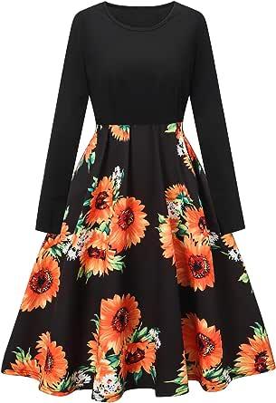 LATUD Women's Vintage Floral A Line Swing Dress with Belt