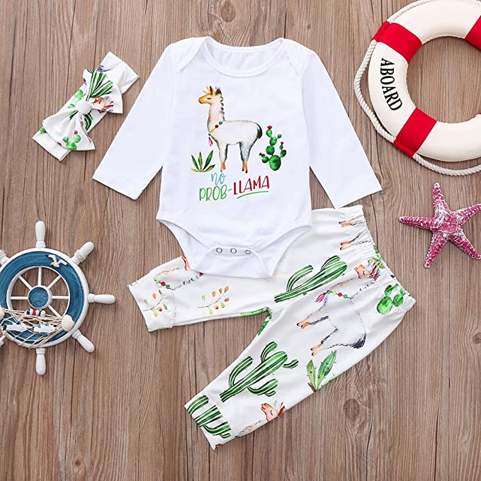 Amazon.com: Yalasga Newborn Baby Girls Long Sleeve Cartoon Graphic Clothes Set-Cute Romper Tops Pant Headaband: Clothing