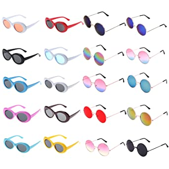 Xgood 10 Packs Oval Clout Goggles Retro Sunglasses Clout Goggles With 10 Pieces Hippie Sunglasses Round Glasses For Women, Men, Kids, Teenagers by Xgood