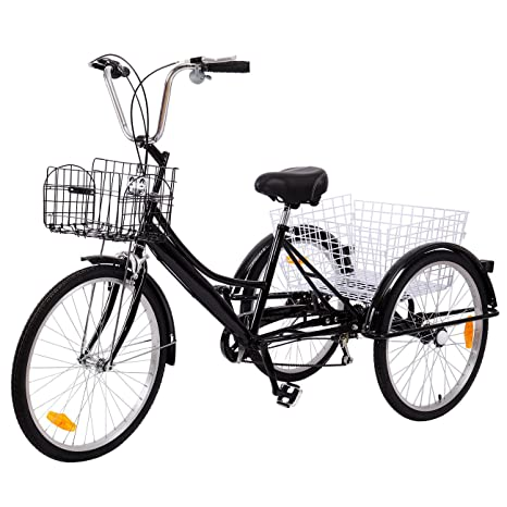 Ridgeyard Tricicli Adulti 24 6 Velocità Bicicletta 3 Ruote Adulti Con Cestino Di Acquistonero 2