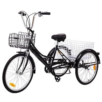 """Ridgeyard triciclo adulto 24 """"6 velocidades bicicleta 3 ruedas adulto con Cesta de la"""