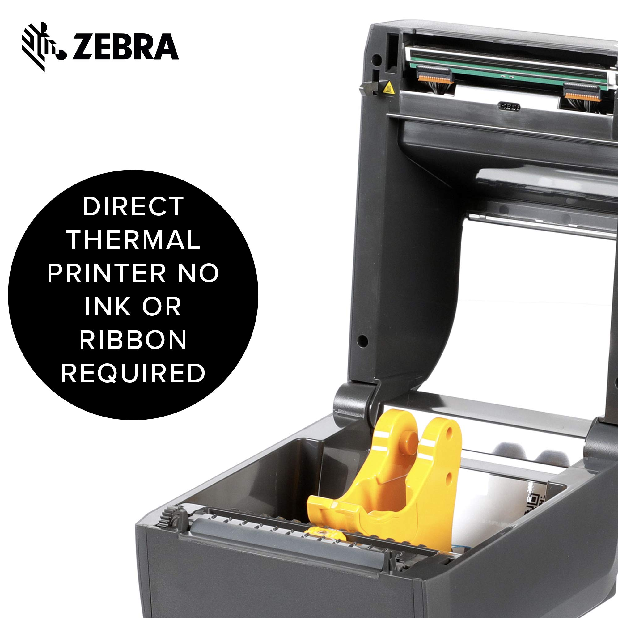 Zebra - ZD420d Direct Thermal Desktop Printer for Labels and Barcodes - Print Width 4 in - 300 dpi - Interface: USB - ZD42043-D01000EZ by Zebra Technologies (Image #4)