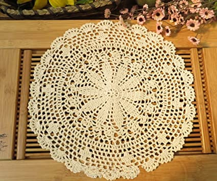 Es kamay I0103 ganchillo hecha a mano redonda encaje de algodón servilletas 2Beige 45 cm 2