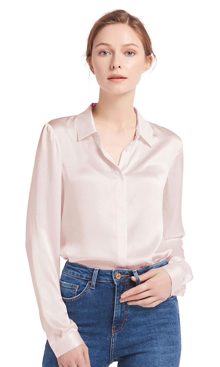 Light Beige LilySilk Women's Silk Shirt 22 Momme 100% Pure Silk Button Down Tops Long Sleeves