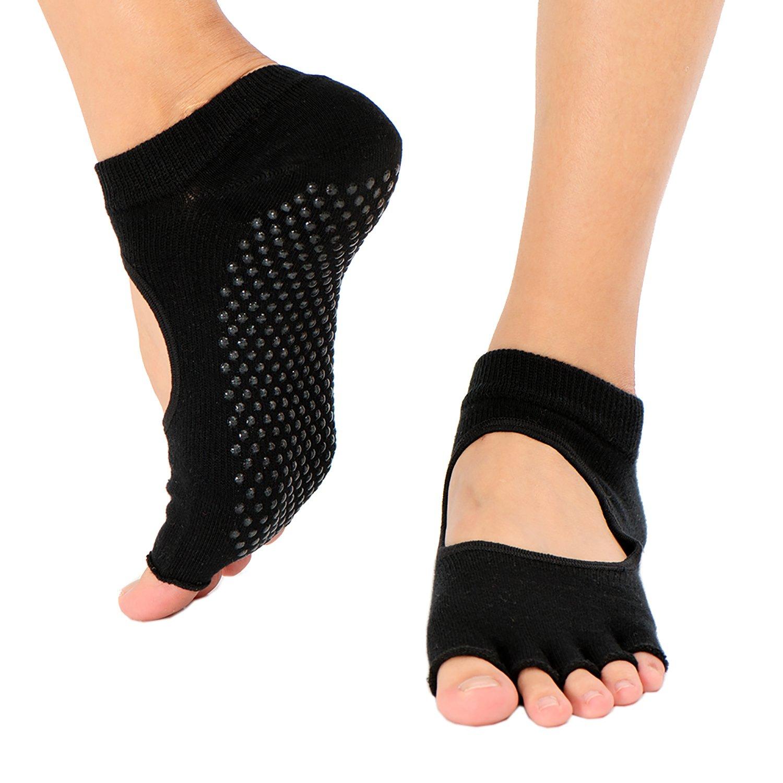 Women & Men Non Slip Socks(3 Paits) for Yoga, Pilates, Barre, Dance Toe Socks - Open Top Black