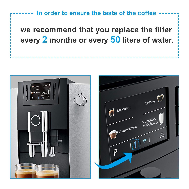 paquete de 2 Jisson Reemplazo del cartucho del filtro de agua para Jura Claris Blue filtro para la m/áquina autom/ática de caf/é espresso para Jura compatible con la serie ENA IMPRESSA
