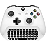 Megadream Xbox One Wireless Chatpad Keyboard with 3.5mm Audio Jack for Microsoft Xbox One, Xbox One Slim, Xbox One X, Xbox One Elite Controller – 2.4G USB Receiver & Charge Cable included - White