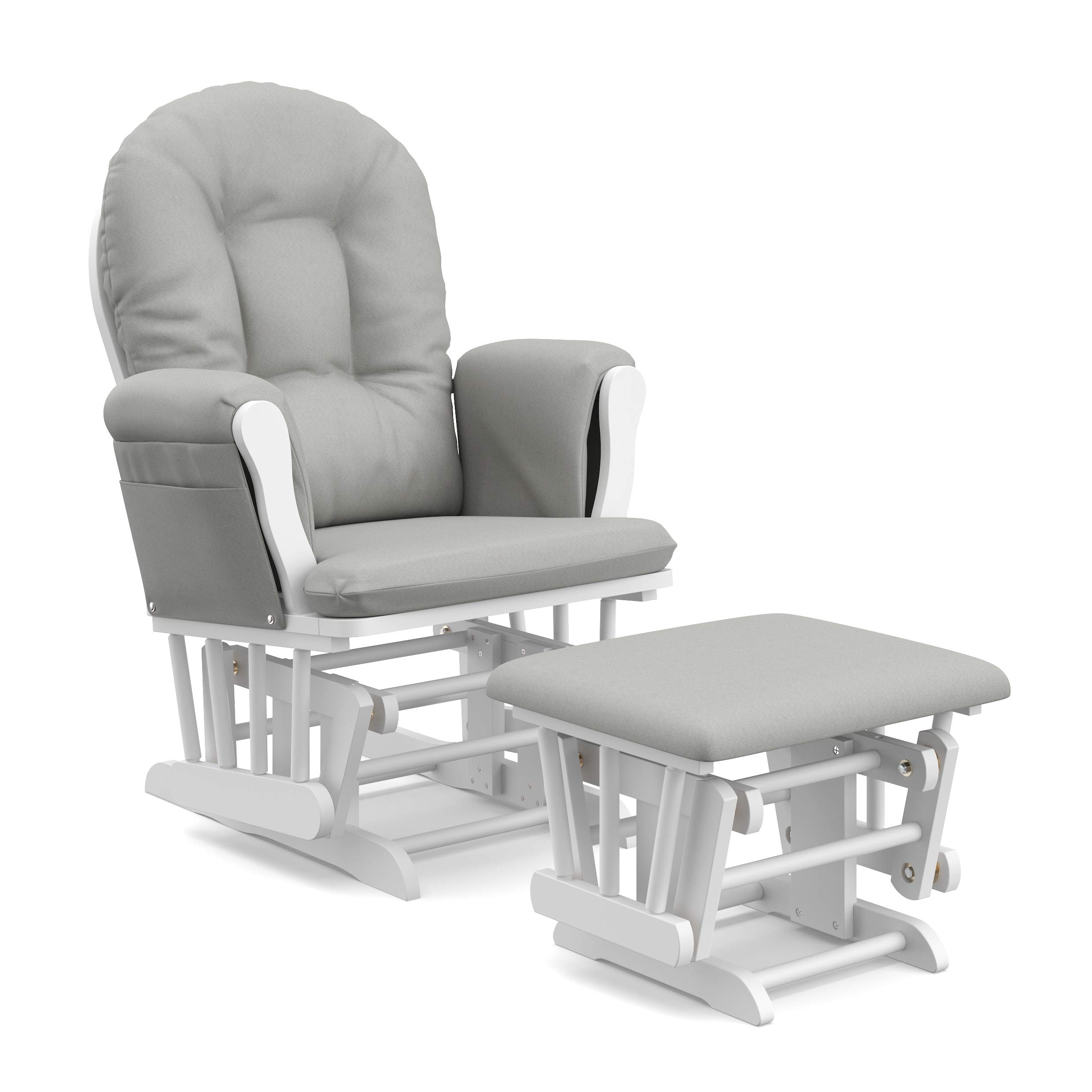 StorkCraft Hoop Glider and Ottoman Cushions, White with Light Gray by Stork Craft