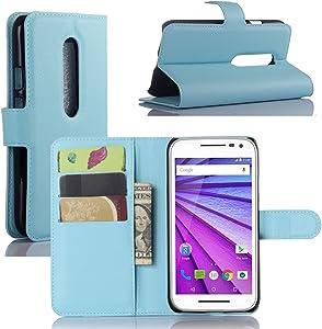 Premium Leather Wallet [ Flip Bracket ] Case Cover with Stand Card Holder for Motorola Moto G 3rd Generation 2015 (Wallet - Sky Blue)