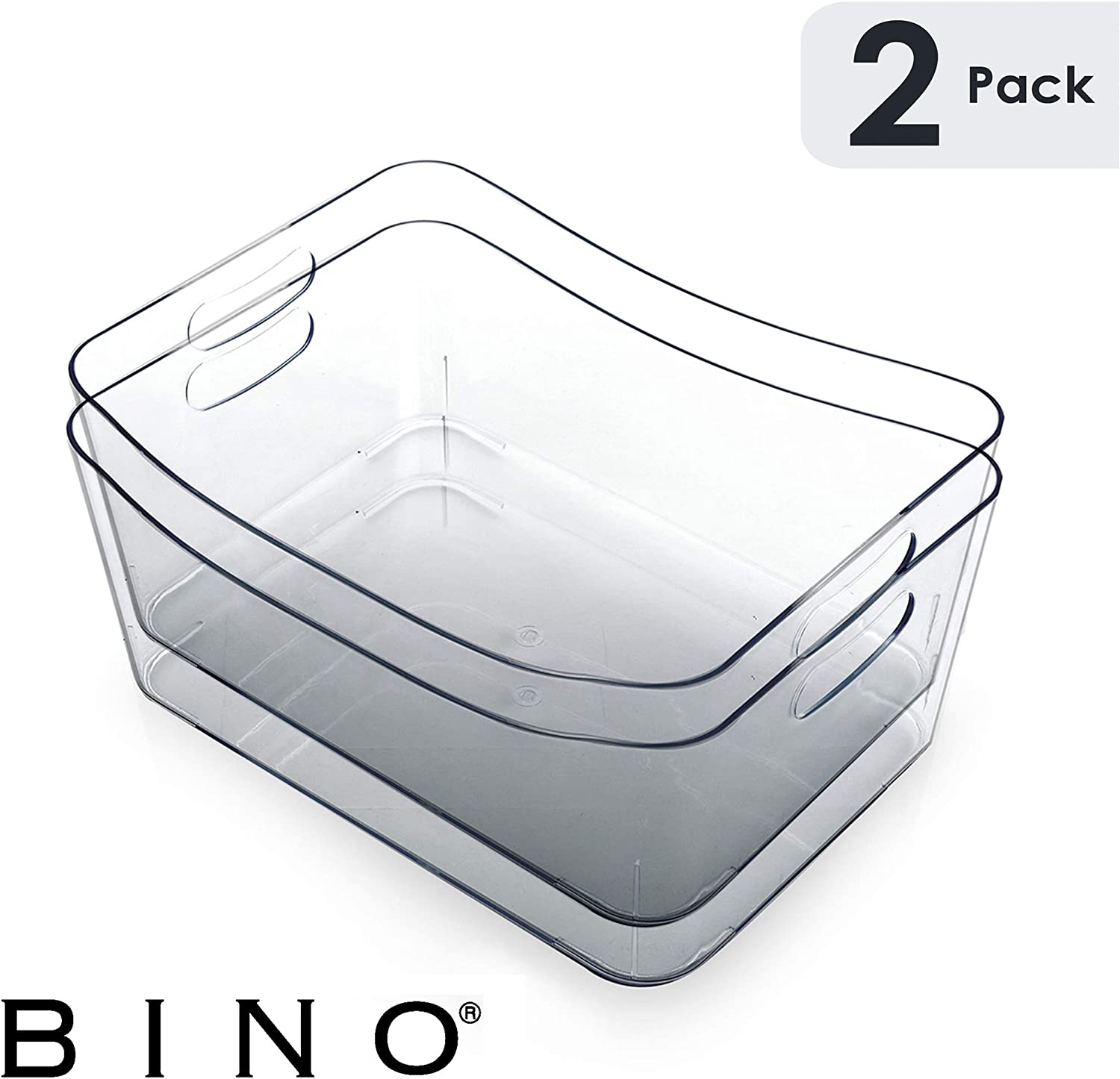 BINO Clear Plastic Storage Bin with Handles - Plastic Storage Bins for Kitchen, Cabinet, and Pantry Organization and Storage - Home Organizers and Storage - Refrigerator and Freezer (2PK- Small)