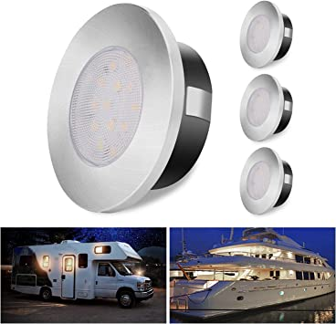 Aloveco Led Rv Lights 12v Led Lights Dimmable Camper Interior Lights 3000k Rv Lights Interior Waterproof 12 Volt Led Ceiling Lights Motorhome Sailboat Yacht Case Of 4 Packs Lighting Amazon Canada