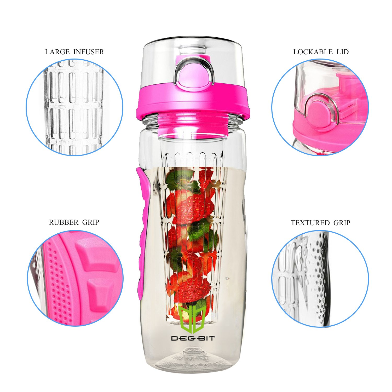 Degbit Botella, Plástico ecológico y sin BPA Botella de Agua, Aprox. 1L bpa Free Botella Agua Deporte, tritan Botella Reutilizables con Infusor de Esencia ...