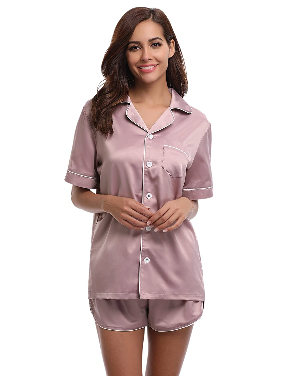 867a6938de9 ... quality of workmanship in Aibrou womens Pjs set. 【Pajamas Style and  Materials】Satin pajamas womens featuring a short-sleeve top and matching  shorts.