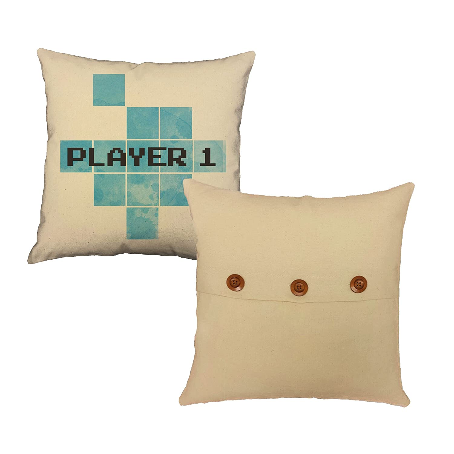 2745cf56b Amazon.com: RoomCraft Set of 2 Player One Player Two Throw Pillows 14x14  Square Natural Cotton Video Game Couple Cushions: Home & Kitchen