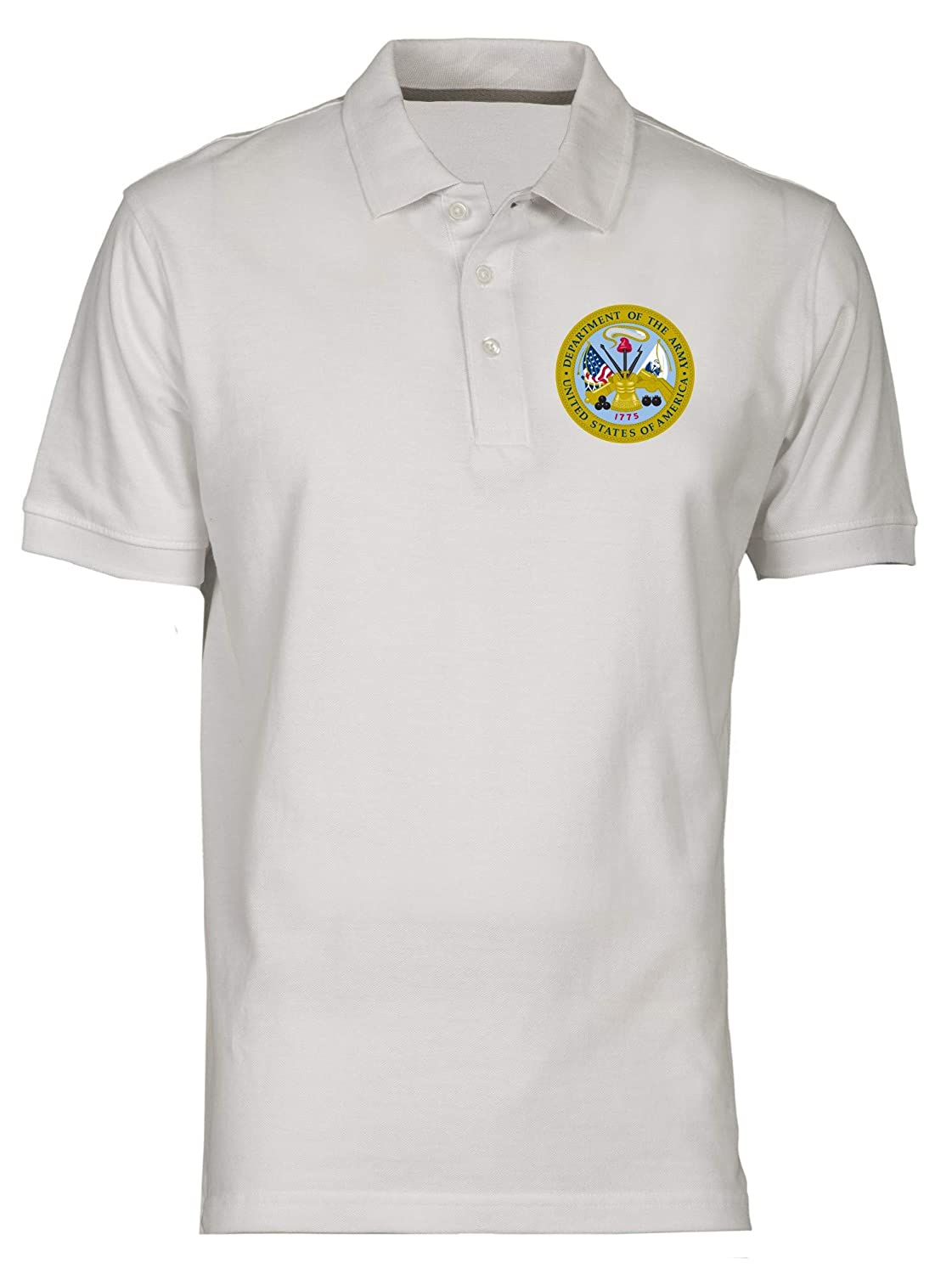 Polo por Hombre Blanco TM0423 Department of The Army USA: Amazon ...