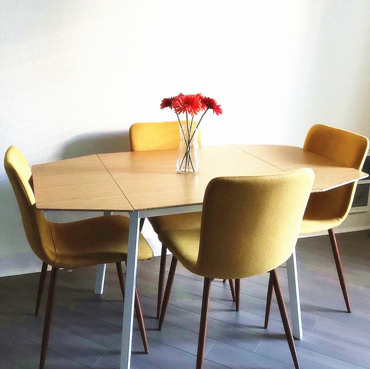 Coavas Set of 4 Dining Chairs Fabric Cushion Kitchen Side Chairs with Sturdy Metal Legs for Dining Room, Yellow by Coavas (Image #4)