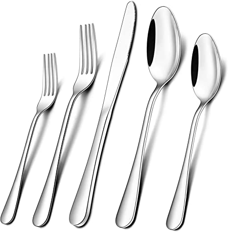 Wildone 30 Piece Silverware Flatware Cutlery Set Stainless Steel Tableware Utensils Service For 6 Include Dinner Knives Forks Spoons Mirror Polished Dishwasher Safe Flatware Sets