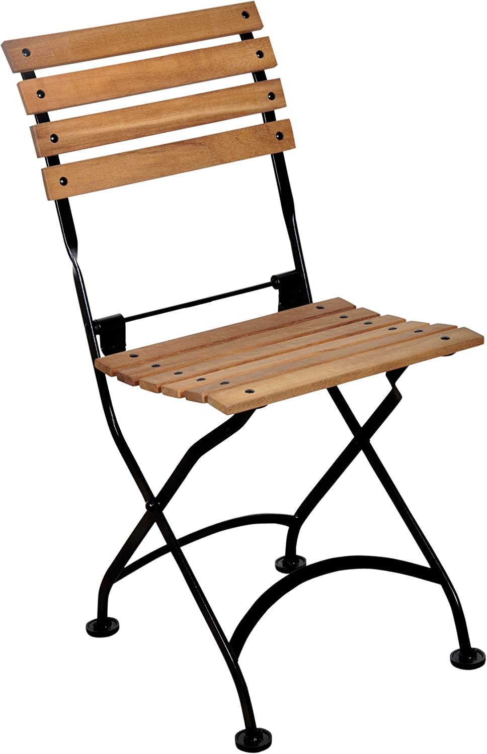 Mobel Designhaus French Caf Bistro Folding Side Chair, Jet Black Frame, African Teak Wood Slats Pack of 2