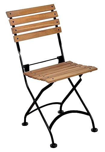 Mobel Designhaus French Caf Bistro Folding Side Chair, Jet Black Frame, African Teak Wood Slats Pack of 2
