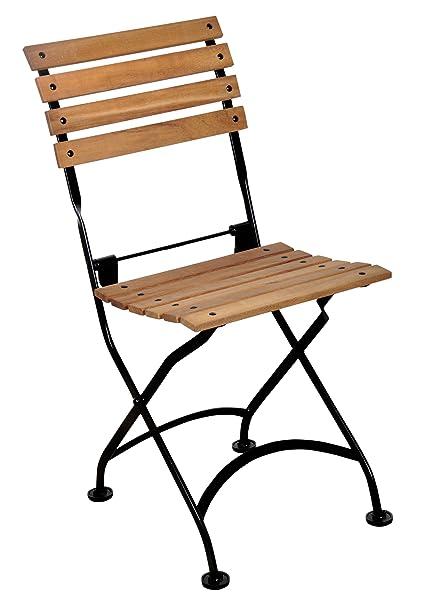 Beautiful Amazon.com : Mobel Designhaus French Café Bistro Folding Side Chair, Jet  Black Frame, African Teak Wood Slats (Pack Of 2) : Garden U0026 Outdoor
