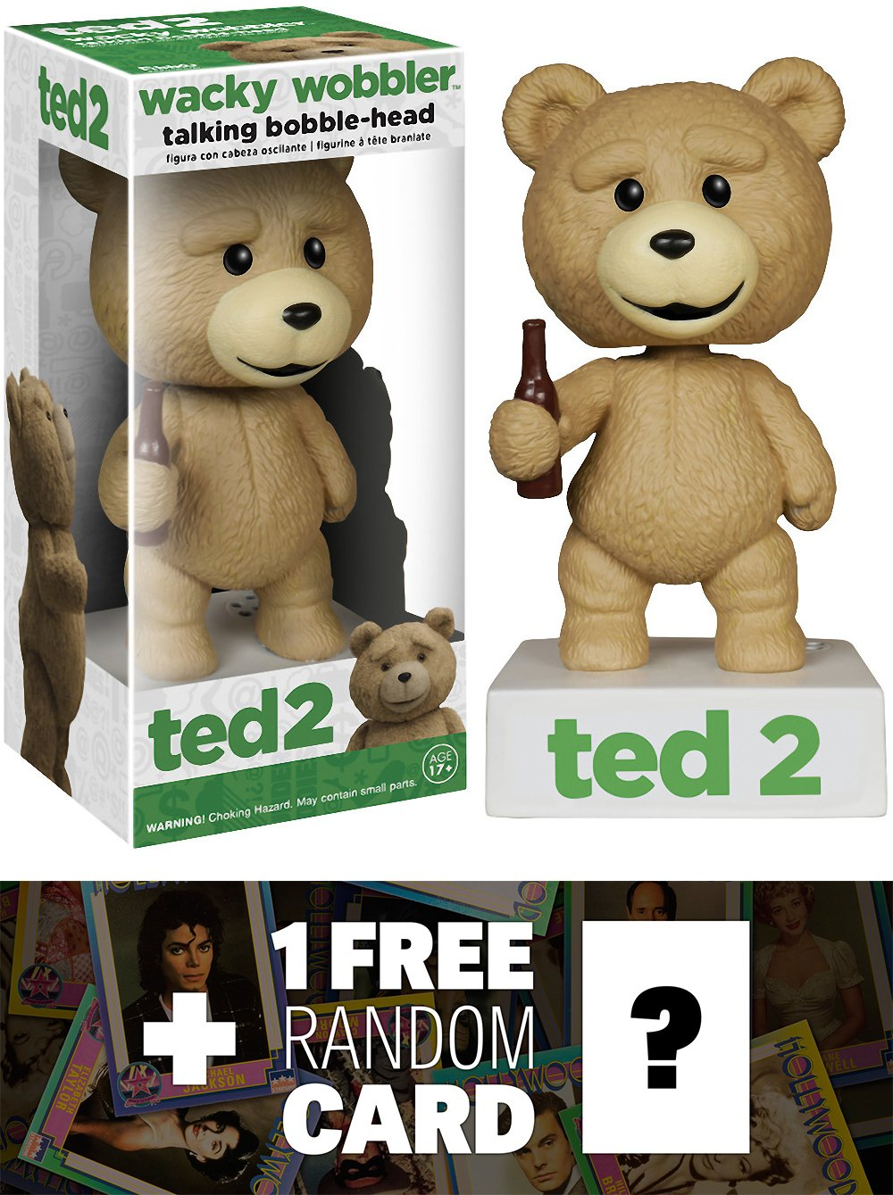 Talking Ted: Ted 2 x Wacky Wobblers Bobble Head Figure + 1 FREE Official Hollywood themed Trading Card Bundle [59101] B01BLLTGU6