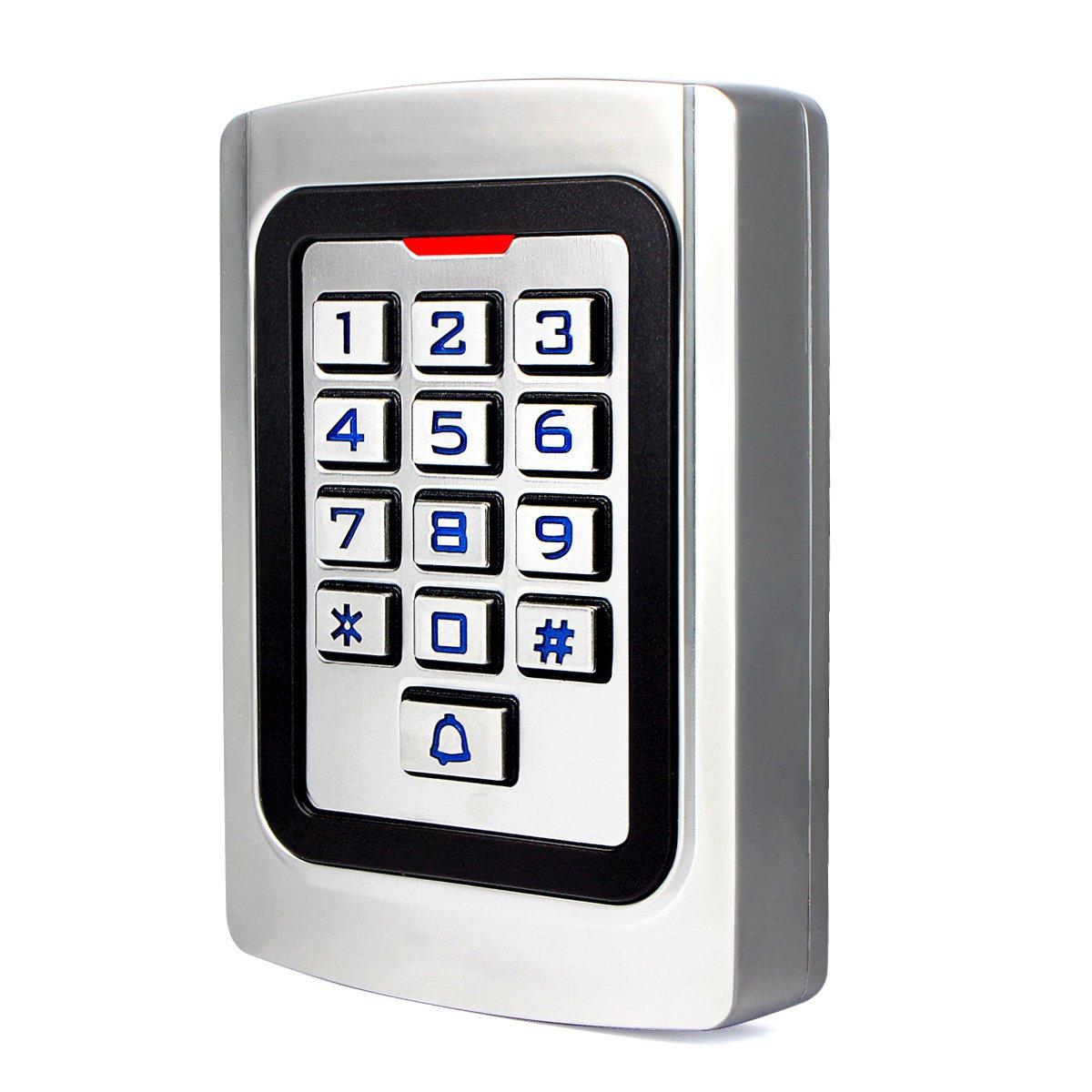 Retekess K10EM-W Control de Acceso Teclado Acceso Puerta Teclado Retroiluminado Numérico IP68 Código PIN 125KHz RFID Tarjeta Wiegand 26 para Tienda Almacén Edificio Empresa (Plata)