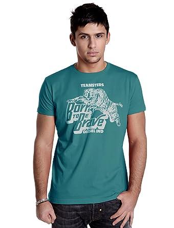 54e9ecc70bf EN SOLDE - T-shirt Diesel Homme bleu imprimé tigre blanc Torisix-Bis ...