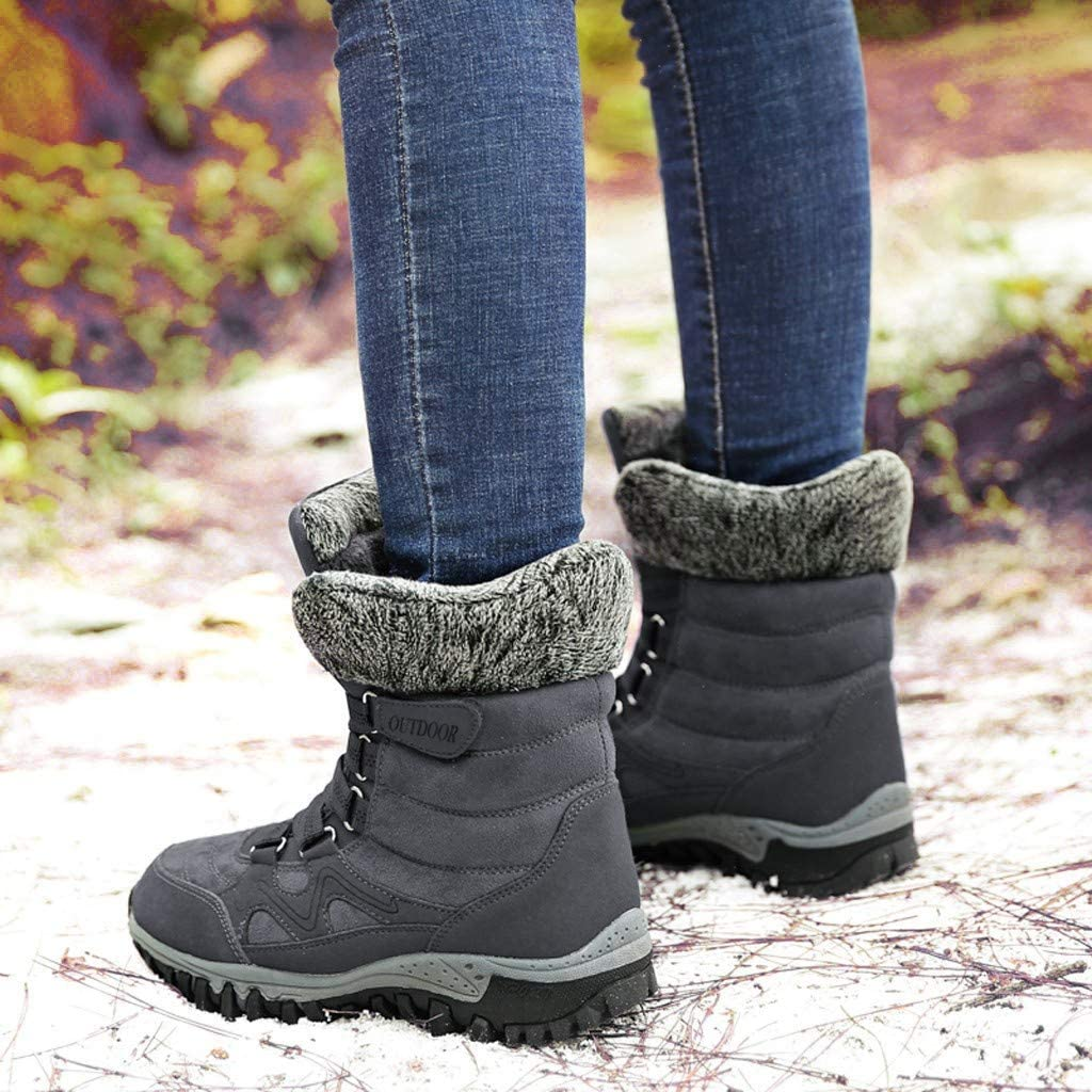 Dainzuy Womens Winter Snow Boots Fashion Warm Fur Lined Ankle Boots Anti-Slip Outdoor Mid Calf Hiking Shoes