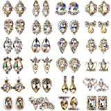48pcs Nail Crystal AB Rhinestones, Nail Diamonds Glass Metal Gems Jewels Stones for 3D Nails Art Decoration(24 Styles)