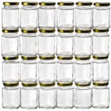 GoJars 4oz Premium Food-Grade Hexagon Glass Jars for Gifts, Wedding Favors, Honey, Jams, Baby Food, Spices and More (24, 4oz)