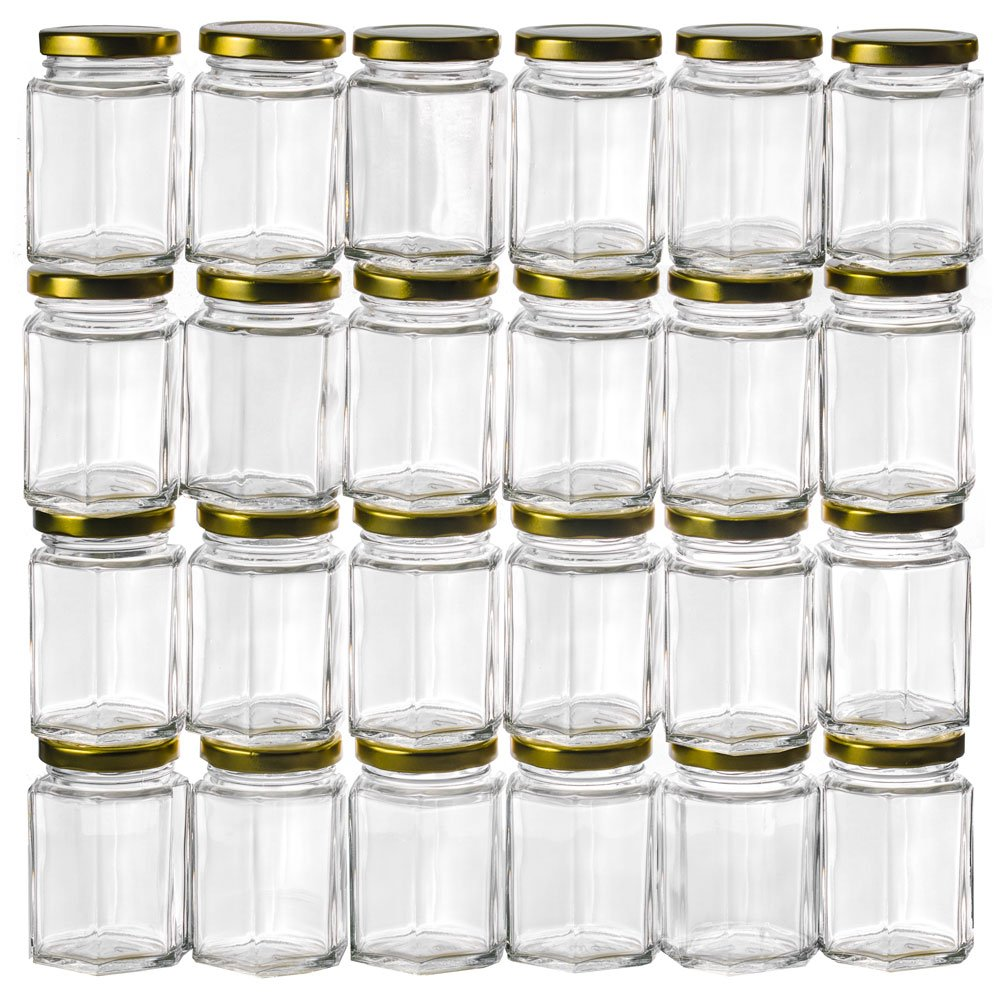 GoJars 4oz Premium Food-Grade Hexagon Glass Jars for Gifts, Wedding Favors, Honey, Jams and More (24, 4oz)