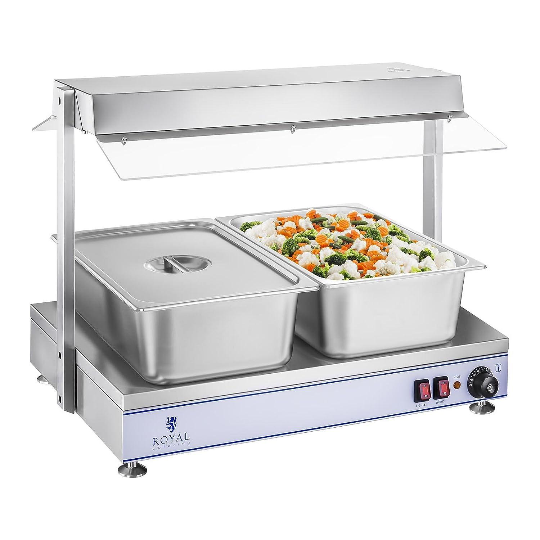Royal Catering RCHP-70 Warmhalteplatte Heizplatte 1.100 Watt, 70 x 50 cm, 2 Halogenlampen, Edelstahl, Temperaturbereich bis 110 /°C