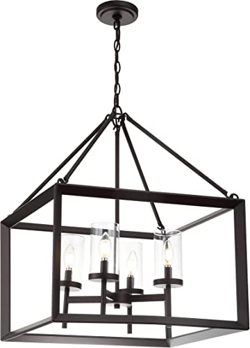 JONATHAN Y JYL7413A Anna 21 4-Light Metal Glass LED Pendant, Traditional, Classic for Kitchen, Living Room, 4 Bulb, Oil Rubbed Bronze Clear