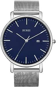 BUREI Men's Fashion Minimalist Wrist Watch Analog Date with Stainless Steel Mesh Band