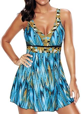 EUDOLAH UV Schutz Badeanzug Swimwear Badekleid Strandkleid Tankini mit Kurz  Hose Badehose  Amazon.de  Bekleidung 730f991dc0