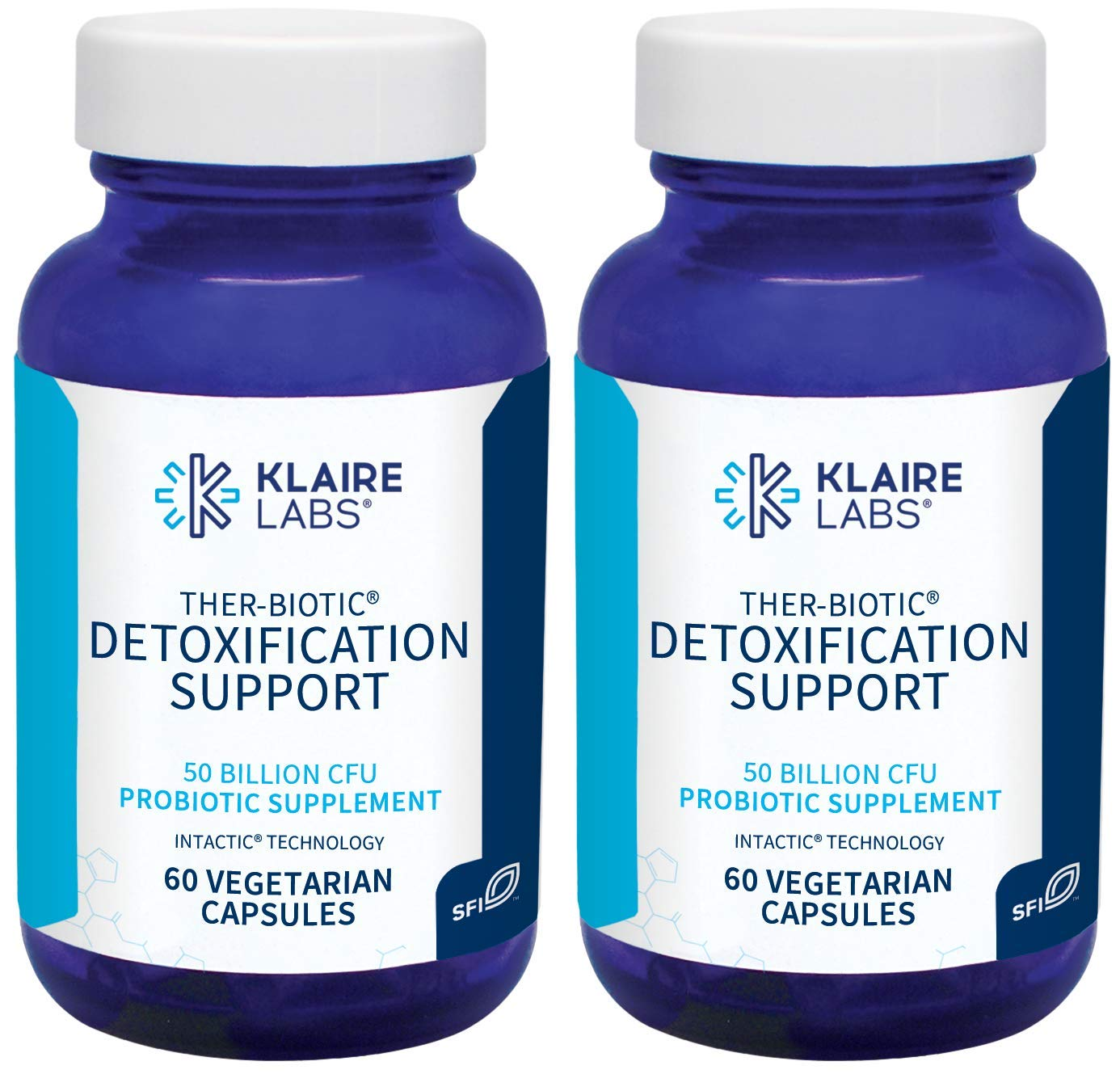 Klaire Labs Ther-Biotic Detoxification Support Probiotic - 50 Billion CFU The Original Hypoallergenic Probiotic for Support During Detox Programs, Dairy-Free (60 Capsules / 2 Pack)
