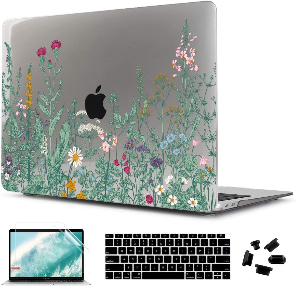 CiSoo Laptop Hard Shell Case Crystal Gray Cover with Keyboard Cover and Screen Protector for MacBook Air 13 Inch Case 2020 2019 2018 Release Model A2179 A1932 with Touch ID, Beauty Flowers
