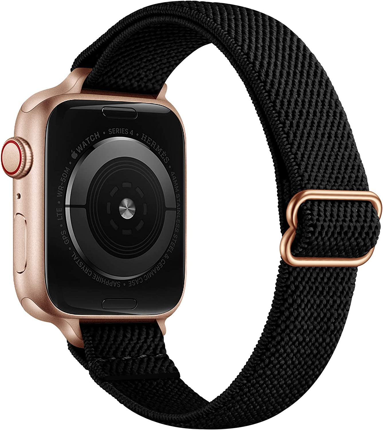 SICCIDEN Slim Stretchy Solo Loop Bands Compatible with Apple Watch Band 40mm 38mm 44mm 42mm, Women Elastics Nylon Thin Band Strap for iWatch SE Series 6 5 4 3 2 1 (Black/Rose Gold, 40mm 38mm)