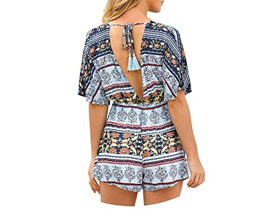 5d92a194ad Trendy-Nicer Bohemian Jumpsuit V Neck Sexy Playsuit Beach Boho Jumpsuits  Floral Shorts Rompers Loose Playsuits at Amazon Women s Clothing store