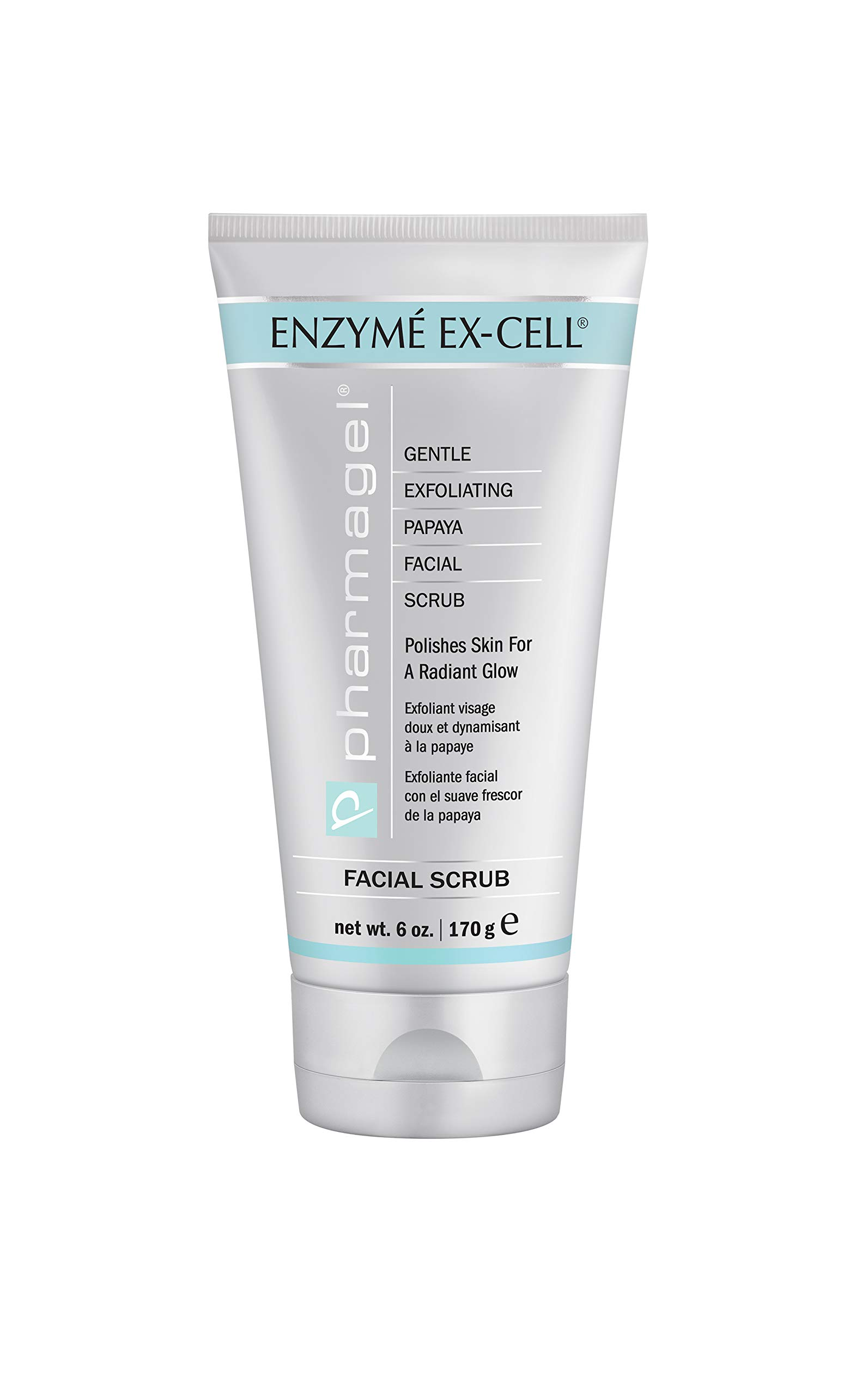 Pharmagel Enzyme Ex-Cell Gentle Exfoliating Facial Scrub | Facial Cleanser to Smooth and Brighten All Skin Types - 6 oz by Pharmagel