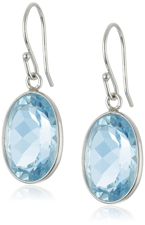 Sterling Silver Amethyst Oval Dangle Earrings