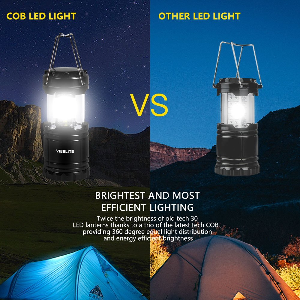 VIBELITE Led Lantern,Camping Lantern Collapsbile COB light with 12 AA Batteries Survival Kit for Emergency IP54 for Hiking Emergencies Hurricanes 4 Pack Black by VIBELITE (Image #2)