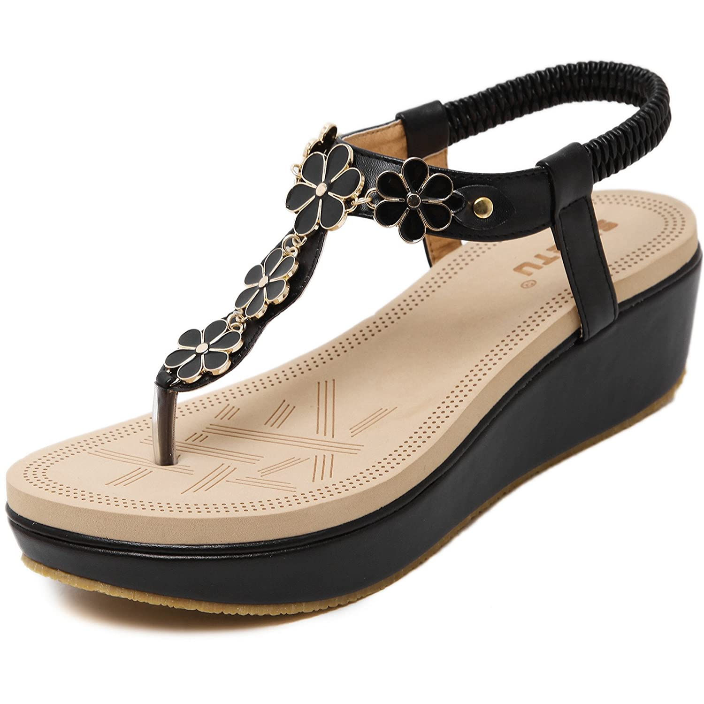 Damen Zehentrenner Sandalen Bohemia Keilabsatz Strass Frauen Sommer Schuhe  38 EU|Black