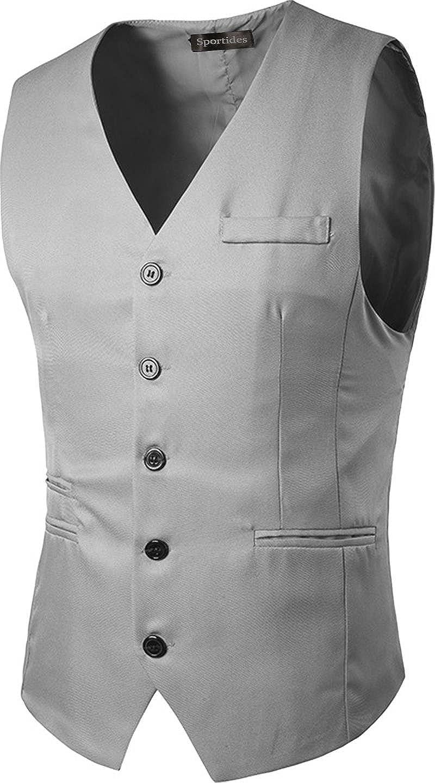 Sportides Mens Waistcoat Gilet Business Gentleman Vest Suits Blazer JZA005